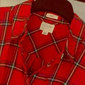 J Crew holiday plaid button down